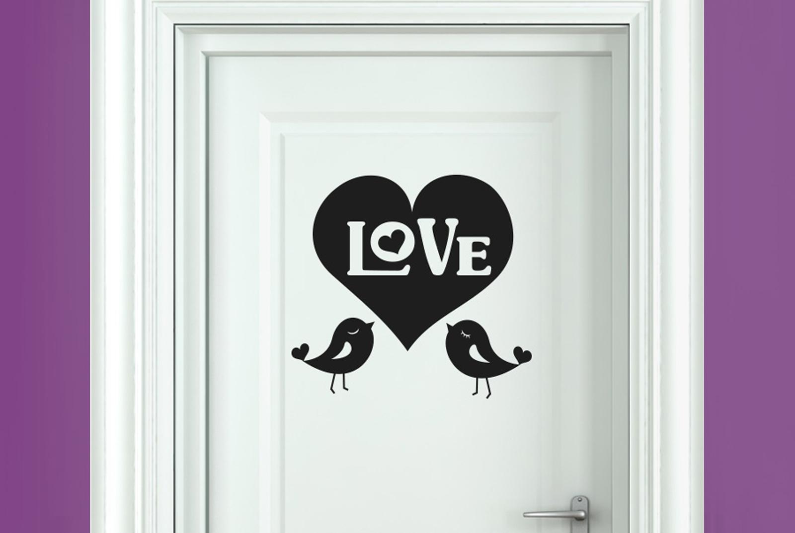 Details About Big Love Heart With Two Cute Birds Room Door Wall Stickers Vinyl Art Decals