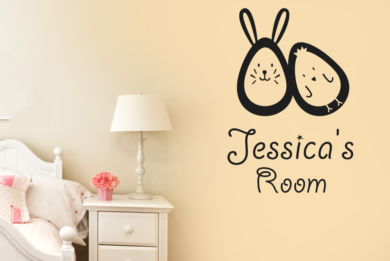 Personalized Bunny Rabbit Egg Chick Kid Room Sign Wall Stickers ...
