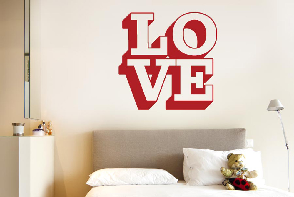 L O V E In 3D Wall Stickers Vinyl Art Decals | eBay