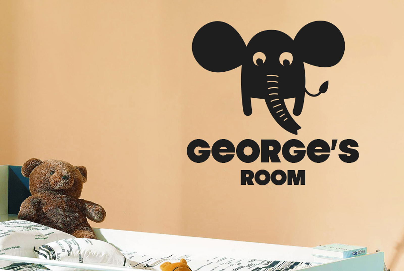 Personalised Elephant Kids Room Sign Wall Stickers Vinyl Art Decals ...
